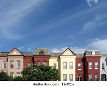 Rowhouse rooftops in DC, with plenty of room for copy