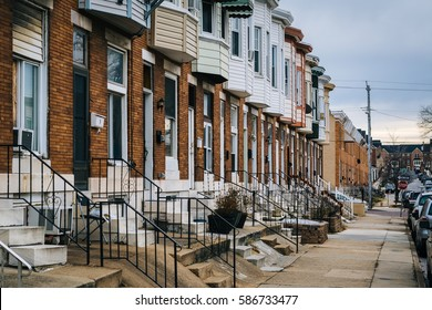 Rowhouses in Greektown, in Baltimore, Maryland.