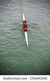 Rowing with 2 person stroking on a river