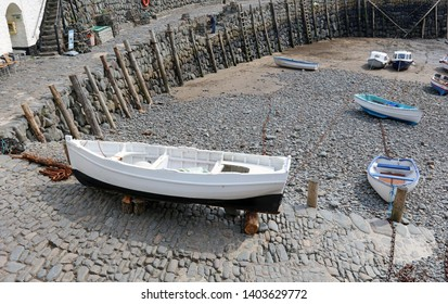Rowing boat at Clovelly Harbour Devon