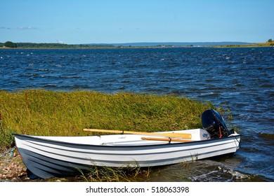 Rowing boat on the shore in Landoen, Skane, Sweden