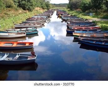 Rowing boats near Ross Castle, Ross, County Kerry, Ireland