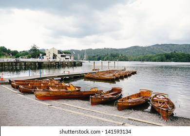 Rowing boats on Lake Windermere, Lake District, UK