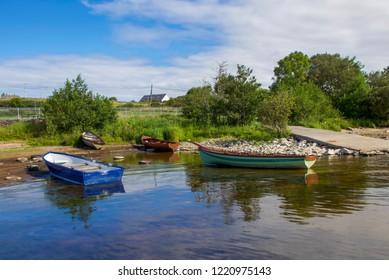 Rowing Boats on Water Bank, Lough Mask, Ireland