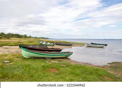 Rowing Boats on Water Bank of Lough Mask, County Mayo, Ireland