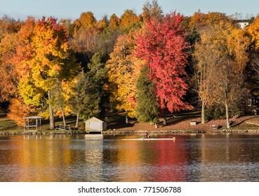 Rowing on Autumn Lake