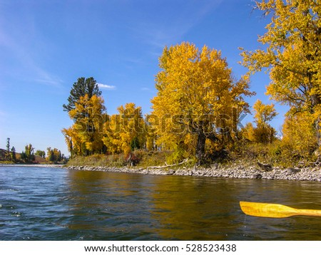 rowing on snake river wyoming approaching stock photo edit now