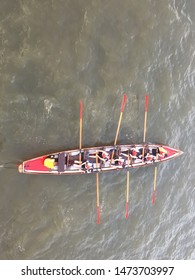rowing row team shot from above Ariel view. stock photo with copy space