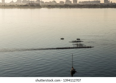 Rowing training under sun at Biscayne bay, Miami, Florida.