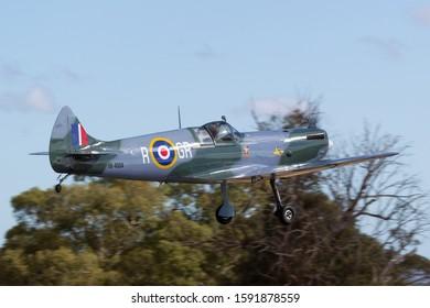 Rowland Flat, Australia - April 14, 2013: 80% Scale replica Supermarine Spitfire Mk.26 kit built aircraft registered 19-4104 on the Australian recreational aviation register.