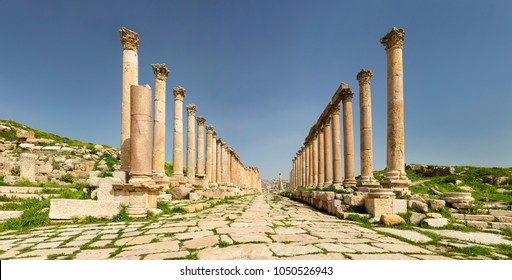 rows of antique colums in old city Jerash in Jordan