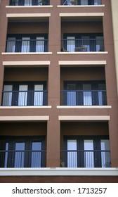 Rows of balconies in condominiums