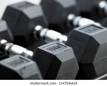 Rows of black metal dumbbell set on rack in sport fitness center.