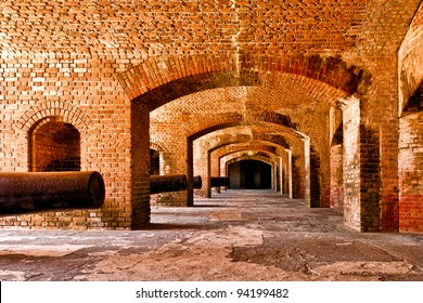 Rows of cannons in Fort Zachary Taylor in Key West, Florida