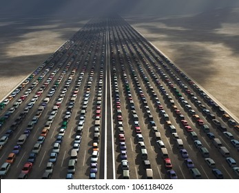 rows of cars in a traffic jam, 3d illustration