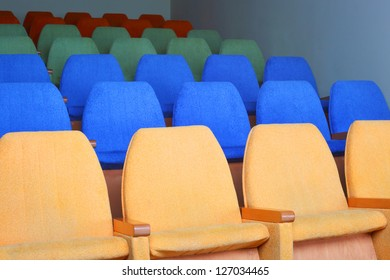 rows of chairs at cinema or theater