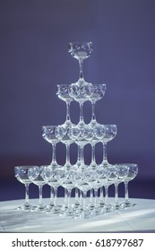 Rows of champagne glasses in wedding party