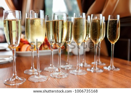 Rows Champagne Wine Glasses Party Wedding Stock Photo Edit Now