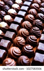 Rows of chocolate sweets collection