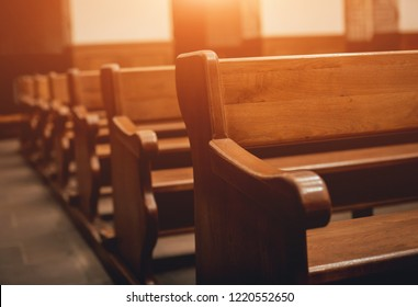 Rows of church benches. Selective focus. Beautiful background