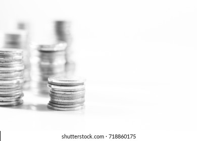 rows of coins, business, Finance and banking concept