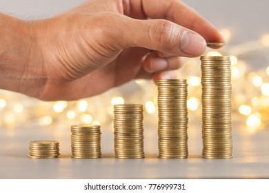 rows of coins, business, Finance banking and saving money concept