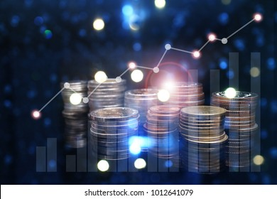 rows of coins for finance and banking concept with Forex graph  business background. A metaphor of international financial consulting , .Innovation Graphs Interfaces.Analyze market stock.