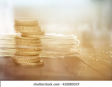 Rows of coins. Finance and banking concept
