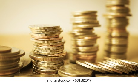 rows of coins for finance and banking concept