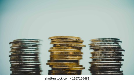 rows of coins for finance and business concept background