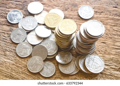 Rows of coins on the table for finance concept. Saving concept. Investment, Economy. Soft focus.
