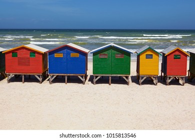 Rows of colorful beach huts in Mossel Bay, South Africa