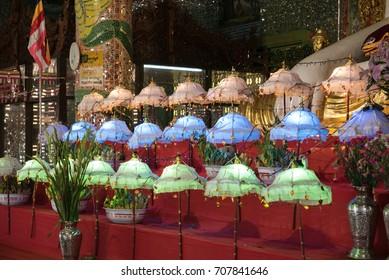 Rows of Colorful Umbrellas inside Soon U Pon Nya Shin Paya, Sagaing, Near Mandalay, Myanmar (Burma)