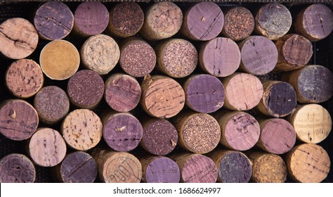 Rows of corks have been opened from good quality wine that has been aged for a long time, and they protect the aroma and flavor of the wine until it is served in a glass.