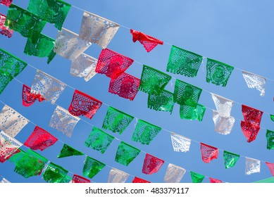 Rows of decorative flags for Independence Day of Mexico (Sept. 15)