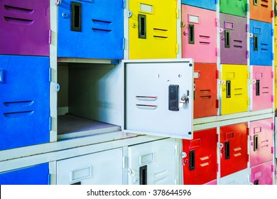 Rows of different colors metal lockers, select focus