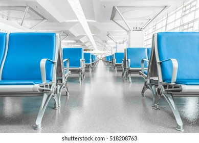Rows of empty chairs at airport in city of China.