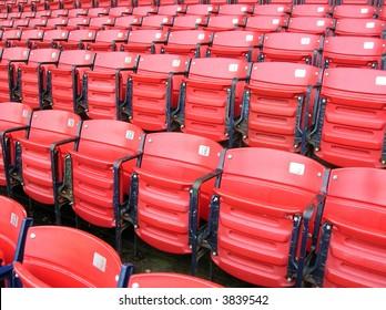Rows of empty seats.