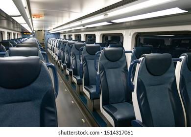 Rows of empty seats on public city train
