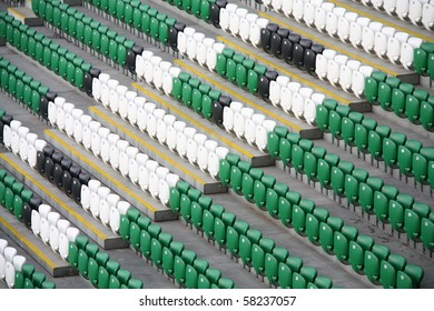 Rows of empty stadium seats. Legia Warsaw New Stadium, Poland.