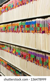 Rows of files in a medical office