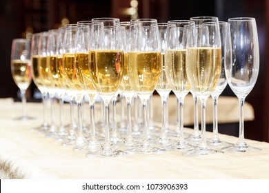 Rows of full champagne or sparkling wine glasses. Catering service concept