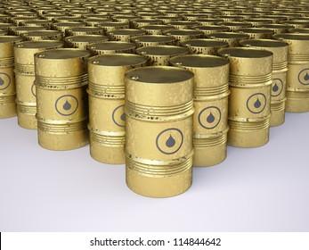 Rows of golden rusty oil barrels