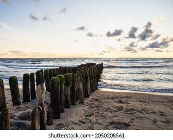 rows of groynes in the nort sea at sylt