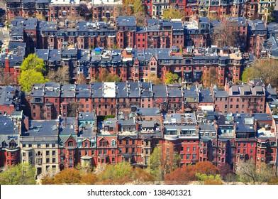 Rows of houses in Back Bay, Boston. High view from Prudential tower, Boston, USA