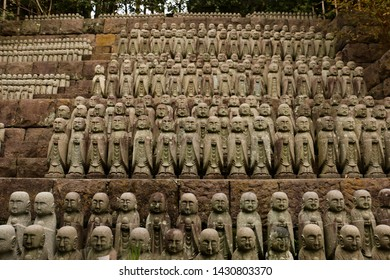 Rows of Jizo Buddhist statues at Hasedera Temple in Kamakura, Japan