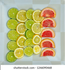 Rows of Lemons, Limes, and Grapefruit slices