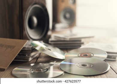 Rows of music cds with speakers