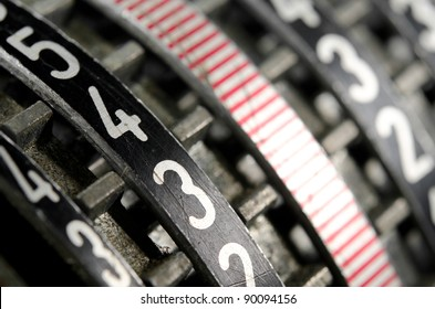 rows of numbers on mechanical old counter