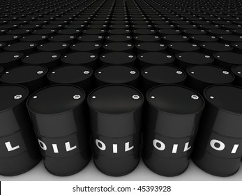 Rows of oil barrels stretching to horizon